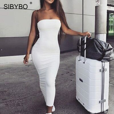 Sibybo Off Shoulder Strapless Sexy Women Dress Sleeveless Straight Long Bodycon
