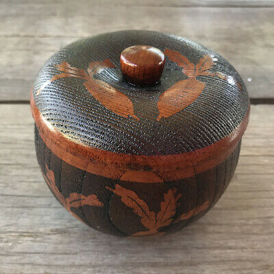 Japanese Wooden Lacquered Brown Ware Bowl Carrot Vintage Case Lidded Owan Makie