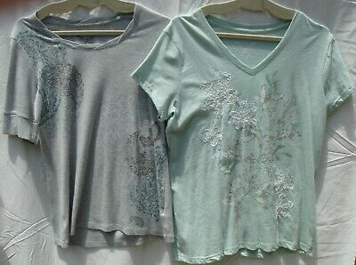2 SONOMA Life + Style Women's Short Sleeve Tees (Tops), 100% Cotton, Size L