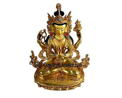 Antique Tibetan Buddhism Bronze 4arm Chenrezig Buddha Statue for Alter/ Shrine