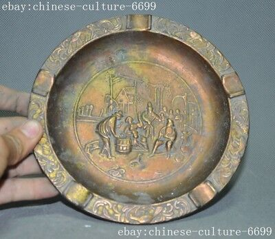 Antique Exquisite Vintage Marked old Chinese bronze Ancient people plate ashtray