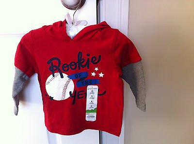 NWT Jumping Beans red long sleeve hooded shirt size 9 months