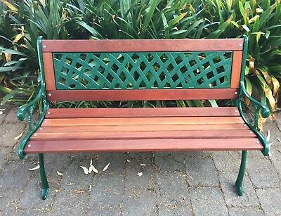 CLASSIC CAST IRON GARDEN BENCH SEAT with new FORREST RED TIMBERS