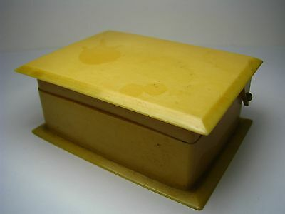 ART DECO BOX POSTAGE STAMP DISPENSER STAMP BOX TRINKET IVORINE/CELLULOID ca1920s