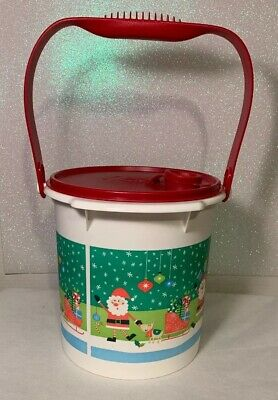 Tupperware  5L Christmas Bucket Canister w/ cap and Handle Red New