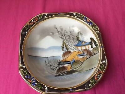 Vintage  UnUsual Hand Painted Japanese small tray made in Japan