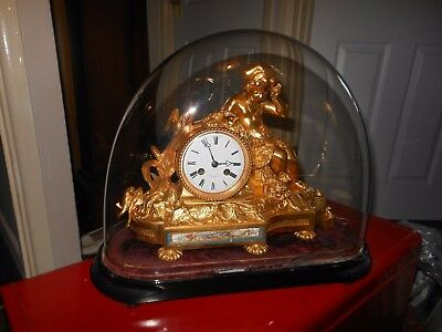 Superb 8 Day Gilt Bronze Clock Under a Dome