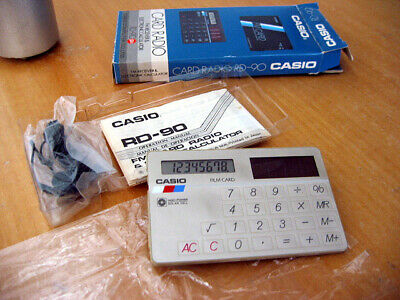 Cosmetic Issue Casio Vintage 1980's FM Credit Card Size Calculator Radio RD-90