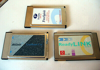 3x PCMCIA Netcomm Card Modem FreeSpirit GSM ISDN ReadyLink Without LAN Dongle
