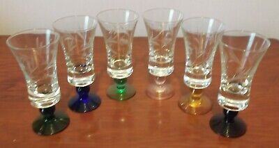 Set of 6 Coloured Stem Sherry Glasses