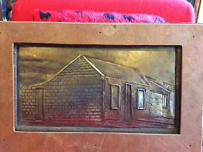 Antique Arts And Crafts Metal-Repousse- Picture -Bothie(Small Stone House)Patina