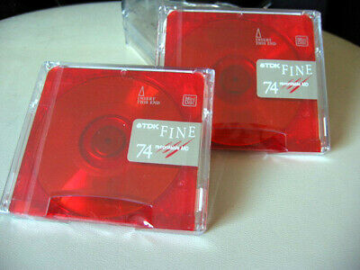 2x RED TDK 74 New Sealed Fine MD Minidisc Recordable Mini Disc 74 minutes