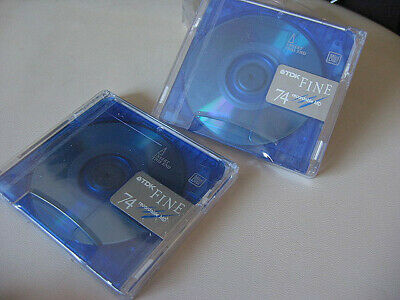 2x BLUE TDK 74 New Sealed Fine MD Minidisc Recordable Mini Disc 74 minutes