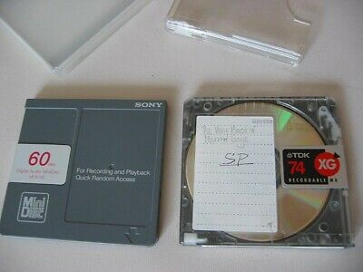 2x MiniDisc MD Recordable Mini Disc Sony TDK Brand 74min used