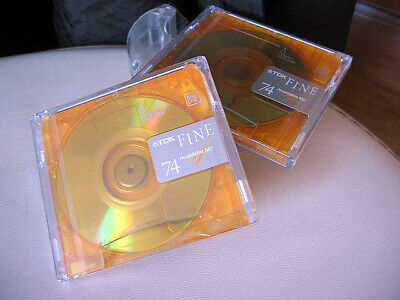 2x AMBER TDK 74 New Sealed Fine MD Minidisc Recordable Mini Disc 74 minutes