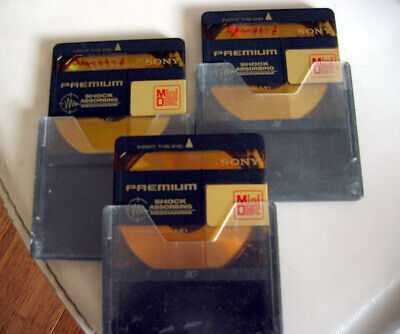 3x MiniDisc MD Recordable Mini Disc Sony Brand PREMIUM 74min Shock Absorbing