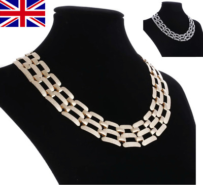 HIGH QUALITY METAL CHAIN LINK WIDE SILVER GOLD TONE CHOKER NECKLACE UK D31 D32