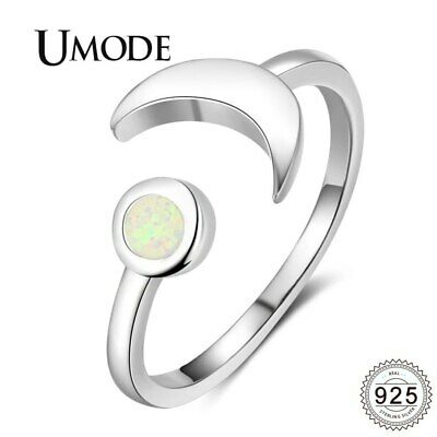 UMODE Trendy Moon 925 Sterling Silver Rings White Natural Round 2mm Opal
