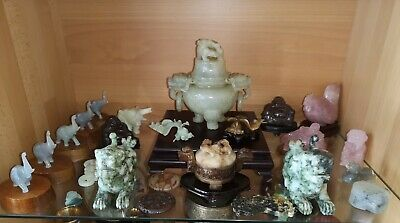 China Konvolut JADE Rosenquarz CLOISONNE Bronze Carving Carved Chinese brass