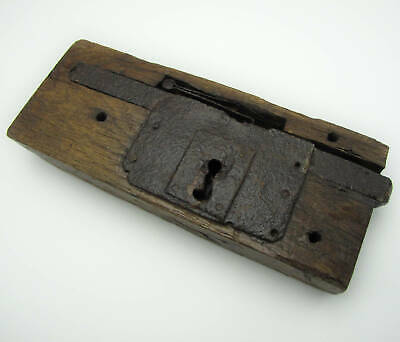 """Antique Large and Heavy Oak and Iron Decorative Door Lock No Key 13"""""""