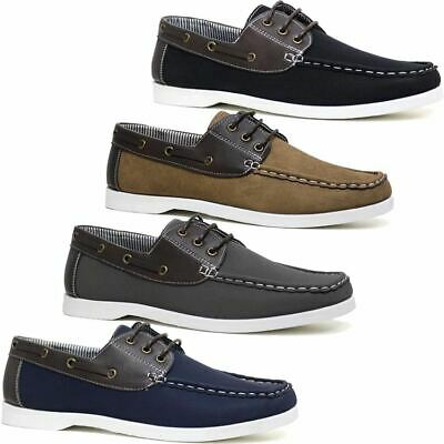 Mens Lace Up Faux Leather Boat Deck Moccasin Designer Loafers Driving Shoes Size