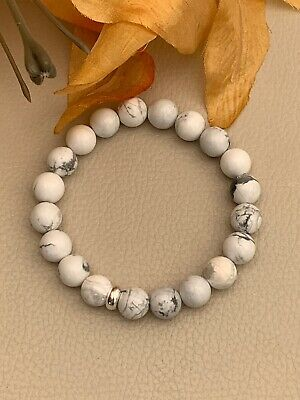 "8"" Natural White Howlite Stretch Bracelet Sterling Silver 10mm beads Calming"