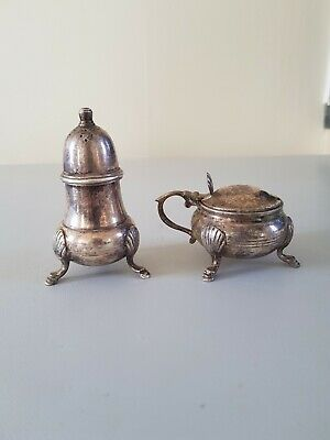 EPNS Silver Plate Sugar Sifter/ Salt/Pepper Shaker And Mustard Pot
