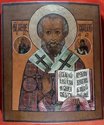 Antique Russian Orthodox icon from 19 c. St.Nicolas.