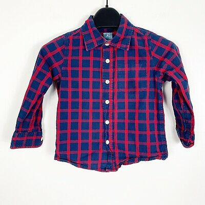Baby Gap Toddler Boys Long Sleeve Button Down Plaid Shirt Red Blue 4 4T