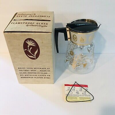 VItg DAVID DOUGLAS FLAMEPROOF 70 OZ Glass Tea Coffee Carafe Bakelite Handle MCM
