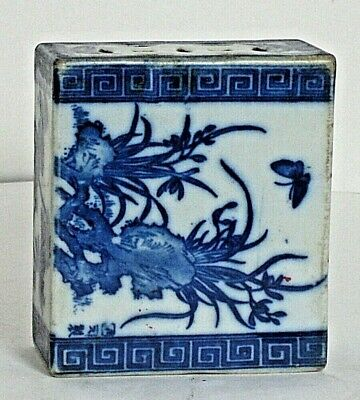 19th Century Chinese Blue White Porcelain Opium Den Pillow Foo Dogs Decoration