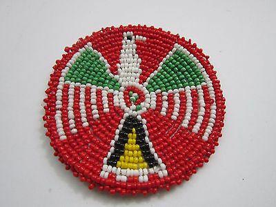 "Beaded Rosette 3"" Thunderbird Leather Sewing Regalia Crafting  Native Design 9D"