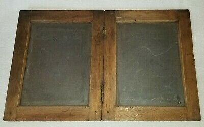 19th Century Primitive Pegged Pine Hinged Double School Slate Child's Chalkboard