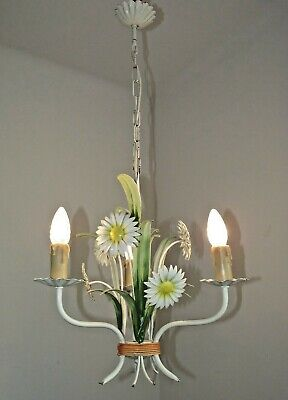 Shabby Chic Vintage French Tied Bouquet Daisy Flower Tole-Ware Chandelier 1439