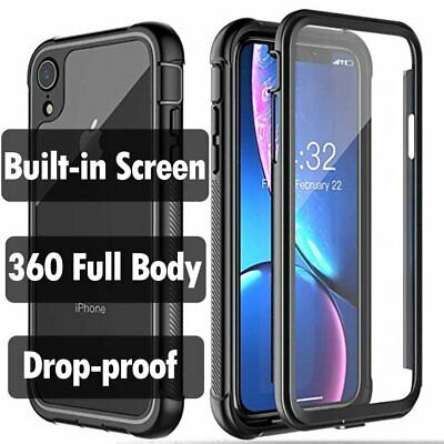 For iPhone XS XR X Max 7 8 Plus Case Cover 360 Full Body with Built-in Screen