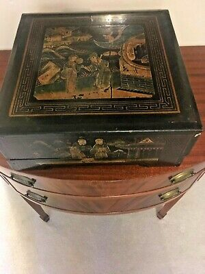 Chinese. Japanese,  Antique Black Lacquer Wood Box Hand Painted Large