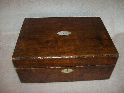 Antique Box Mother of Pearl Cartouche & Escutcheon