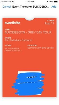 Suicideboys - 2 GA Tickets. Worcester Palladium show today 8/11 at 4:30 pm