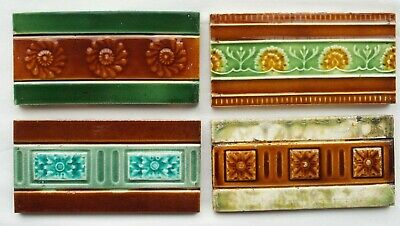 Mixed selection of 4 different Original Edwardian Spacer / Border Tiles