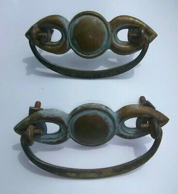 Antique Stamped Brass Drawer Pulls Art Deco Winged Circle Handles Vintage Pair