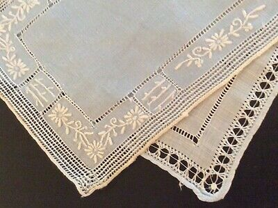 Dainty! Pair 2 Blue Italian Cutwork Antique Linen Doilies Napkins Lace Embroider