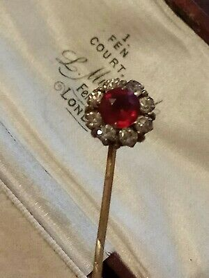 Antique Victorian yellow metal Stick Pin with clear and Ruby red stones