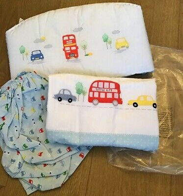 Mothercare On The Road Crib Bale Bumper, Coverlet And Fitted Sheet Brand New