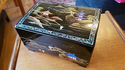 Oriental Japanese Black Lacquered Vintage Locked Musical Jewellery Box by Dayson