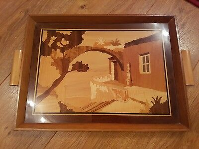 Stunning Vintage Marquetry Inlaid Wooden Tray - Attardi Sorrento - Handmade