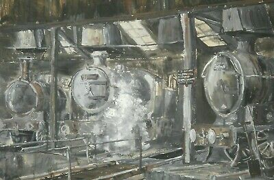 LARGE MID 20th CENTURY WATERCOLOUR LNER LOCOMOTIVES ENGINE SHED TURNTABLE c 1935
