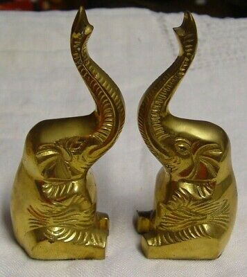 """Vintage Old Solid Brass Elephant Book Ends? Decorative Decor Heavy 6 1/2"""" Tall"""