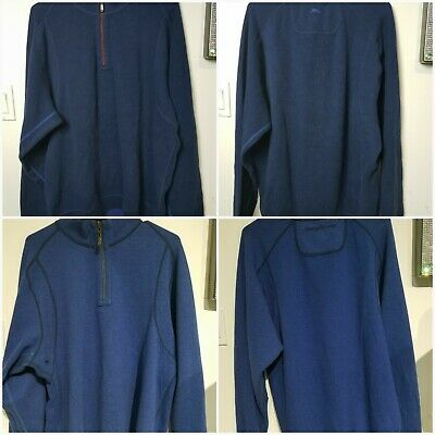 Tommy Bahama Men L Flipsider Half Zip Pullover Thick Sweater Blue Reversible