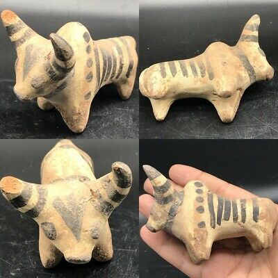 Ancient Indus Valley terracotta decorated bull figurine 2nd millennium BC #SAi94