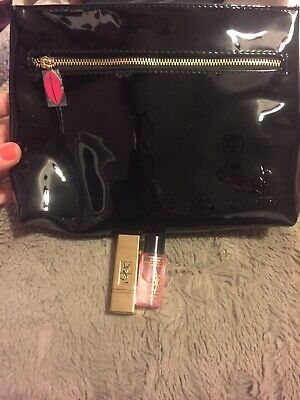 YSL Makeup Bag and Minature Makeup Remover and Minature Red Lipstick, All BNIB